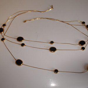 Vintage necklace gold tone chains black Trifari